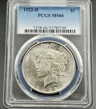 1922 D $1 Peace Silver Dollar PCGS MS66 Some Toning Gem BU Unc Deep Strike