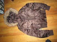 Women's Southpole Brown Zip & Snap Coat W/Hood Size M Very Good Condition