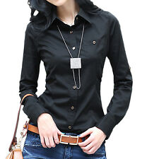Summer Womens Shirt Button Blouse Cotton Business Ladies Long Sleeve Top Size Black 6