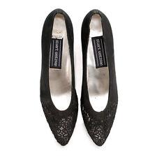 Stuart Weitzman Vintage Black Satin & Lace Pointy Toe High Heels Pumps Size 8.5