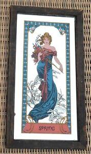 "Vintage Stylish Art Nouveau Style  'Spring' Mirror By Mucha  13"" 33cms x 7"" 18cm"
