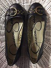 Shoes, JESSICA SIMPSON, Ballerina flats, black , gold buckle/gold studs, 5M