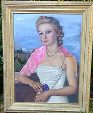 *STUNNING ELEGANT VINTAGE OIL PAINTING SIGNED Chicoine CANADIAN 1940 PORTRAIT