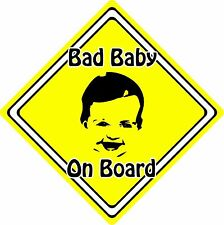 Bad Baby/Child On Board Car Sign ~ Baby Face Silhouette ~ Neon Yellow