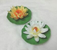 Artificial Lotus Water lily Floating Flower Decorate Outdoor Garden Or Pool 2 pc