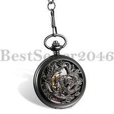 Wind Skeleton Mechanical Hollow Pocket Watch Antique Phoenix and Dragon Men Hand