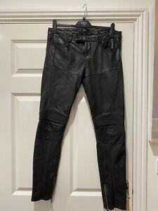 All Saints Black Biker Leather Trousers Waist 28