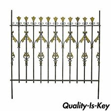 Vintage French Art Nouveau Gilt Wrought Iron Full Size Bed Headboard Fence Gate
