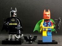 BLACK BATMAN LEGO BAG & JOKER CLOWN BATMAN COLORS TOP MINIFIGURES COMICS  ARCADE