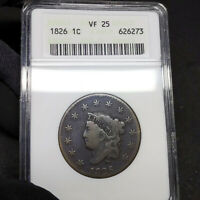 1826 VF25 Coronet Head Large Cent 1c, ANACS Graded Very Fine!