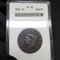 1826 VF25 Coronet Head Large Cent 1c, ANACS Graded Very Fine!