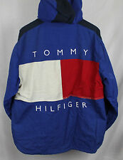 Vintage Tommy Hilfiger Big Back Logo Spellout Jacket Sz M Blue Red White