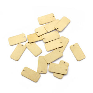 15X Raw Brass Rectangle Metal Stamping Blank Tag Charms Pendants Jewelry Finding