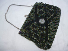 VINTAGE BEADED EVENING BAG with RHINESTONES - very good used condition