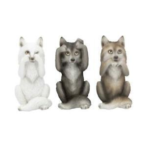 NEMESIS NOW - THREE WISE WOLVES - 10cm FIGURINE ORNAMENT GOTHIC DOGS