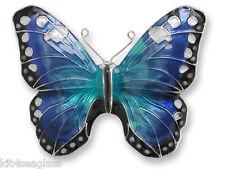 Zarah Zarlite Blue Morpho BUTTERFLY PIN Silver Plated Enamel Brooch - Gift Boxed