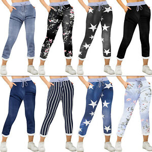 Womens Ladies Italian Floral Print Trousers Casual Joggers Jogging Bottoms Pants