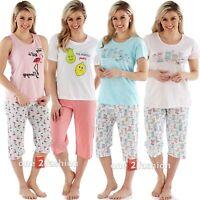 Ladies 2 Piece three quarter Pyjamas Suit Set Cotton Summer Loungewear Night pjs