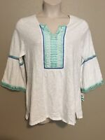 (NWT) Charter Club Women's White Lace Trim 3/4 Sleeve Peasant Top Plus Size 3X