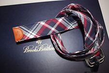NWT BROOKS BROTHERS Size M Men's Red Navy White Plaid Leather/Cotton Adjust Belt