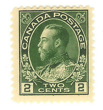 CANADA STAMP - 2 CENT GREEN PERFORATE - GEORGE V - MNH - SIGNED - Scott.107