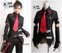 Unisex VISUAL kei PUNK Gothic KERA Lolita shirt top Blouse + Red Tie Sz S to XL