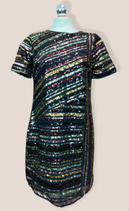 MONSOON RAINEY MULTI COLOURED SEQUIN STRIPE TUNIC DRESS BNWT S12 RRP £99 Party