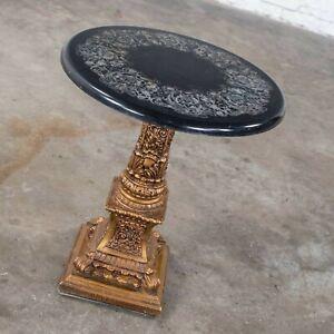 Neoclassic Hollywood Regency Gilded Plaster Round Pedestal Side Table Black Top