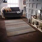 carter brun naturel LUXE rayé laine Tapis en tailles variées et tapis