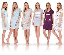 Ladies Printed Cotton Nightdress Womens Short Sleeve Cami Nightie