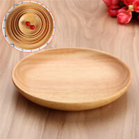 Round Wood Plate Breakfast Food Dish Snack Serving Tray Salad Bowl Platter  E K