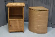 Vintage Lloyd Loom Bedside Table and Laundry Basket Gold - We Can Deliver
