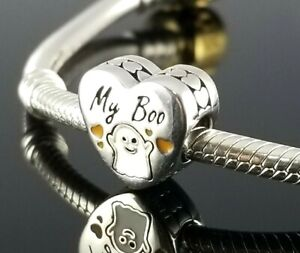 Authentic Pandora Halloween Ghost MY BOO Love Hearts Silver Charm Holiday Gift
