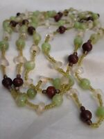 """X-Tra Long 58"""" Beaded Necklace Green Multi-Colored St. Paddy Mardi Gras Crystal"""