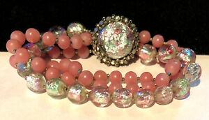 Rare Vintage Signed Miriam Haskell Iridescent Pink Glass 3 Strand Bracelet A23