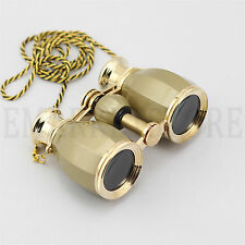 4X30 Gold with Gold Trim Chain Binoculars Opera Theater Horse Racing Glasses