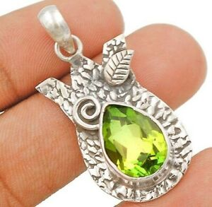 5CT Peridot 925 Solid Genuine Sterling Silver Pendant Jewelry CT25-9