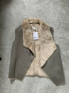New H&M Fur Sleeveless Gilet Jacket Kids Age 13-14 Fits Woman Xsmall