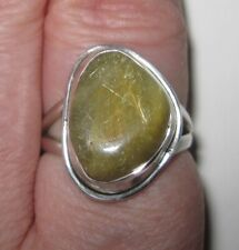 Golden Rutilated Quartz and Sterling Silver Ring, Size 6.75
