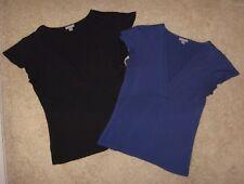 Lot of 2 Ann Taylor Deep V-Neck Flutter Sleeve Knit Tops Shirts Sz S Black Blue