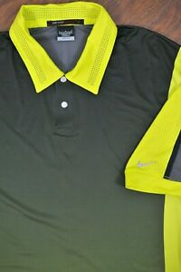 Nike Tiger Woods Perforated Panel Polo Shirt Green Gray Men's Large L