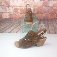 b.o.c.  Open Toe Heels Size 8 Brown Leather