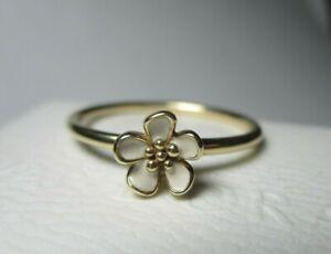 PANDORA - solid 14k gold Cherry Blossom flower ring 14ct - Size 60 - 150174EN40