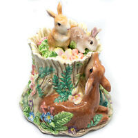 Fitz and Floyd Woodland Spring Rabbit Deer Cookie Jar Canister Bunny Centerpiece