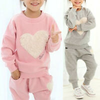 2Pcs Set Kids Girl Winter Outfit Clothes Pullover Top + Trousers Pants Tracksuit