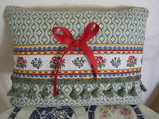 Gorgeous Accent Pillow Pierre Deux Red Sage Chloe French Country Toile Fleur Bow