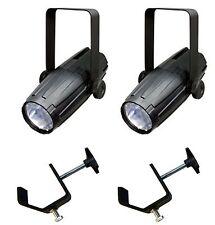 (2) CHAUVET LED PINSPOT 2 High-Powered 3W DJ Mirror Ball Spotlights w/ C-Clamps