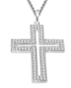 Round Diamond Cross Pendant Necklace I1 G 1.00Ct White Gold Prong Set 1.30 Inch