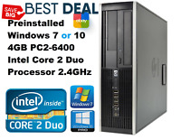 HP Compaq DC5800 Business PC w/New Windows 10 or 7 - Intel Core 2 Duo 2.4 GHz