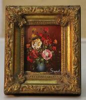 Sehr kleines Ölgemälde 7x9 Blumen signiert